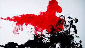 Vermelho e de tinta preta na água Movimento lento criativo Em um branco