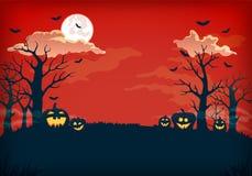 Vermelho e escuro assustadores - fundo azul da noite com Lua cheia, nuvens, as árvores desencapadas, os bastões e as abóboras ilustração do vetor