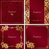 Vermelho e frame do vintage do ouro Imagens de Stock Royalty Free
