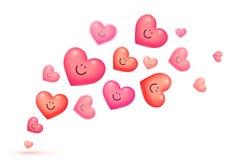 Vermelho e fundo cor-de-rosa do cartão do vetor do dia de Valentim de sorriso de flutuação dos corações ilustração royalty free