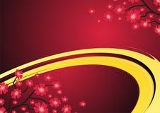 Vermelho e fundo do ouro com flor Fotografia de Stock
