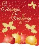 Vermelho e Natal do ouro Fotos de Stock Royalty Free
