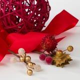 Vermelho e ouro do Natal Fotos de Stock Royalty Free