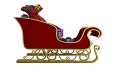 Vermelho e trenó de Santa do ouro Fotos de Stock Royalty Free