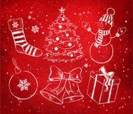 Vermelho e White Christmas ajustados Imagem de Stock Royalty Free