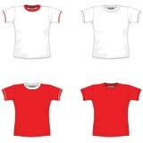 vermelho em branco do t-shirt Fotografia de Stock Royalty Free