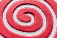 Vermelho espiral branco Vista superior e fim acima Imagens de Stock