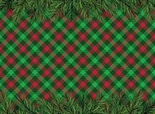 Vermelho, fundo quadriculado do teste padrão do verde com o deco da árvore de Natal Fotografia de Stock Royalty Free