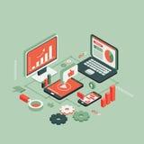 Vermelho isométrico das tecnologias sem fios ilustração royalty free