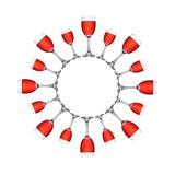 Vermelho no círculo do wineglass Fotografia de Stock