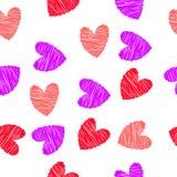 Vermelho rabiscado, teste padrão sem emenda dos corações ilustração stock