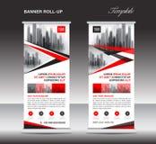 Vermelho role acima a bandeira, molde do suporte, cartaz, exposição, advertiseme Imagens de Stock