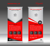 Vermelho role acima a ilustração do vetor do molde da bandeira Imagens de Stock Royalty Free