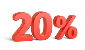 Vermelho sinal de vinte por cento no fundo branco Fotografia de Stock Royalty Free