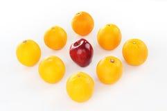 Vermelho suculento no meio da laranja na forma do diamante Imagens de Stock