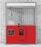 Vermelho vazio Toy Claw Crane Arcade Machine do carnaval rendição 3d Foto de Stock
