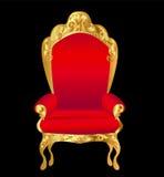 Vermelho velho da cadeira com o ornamento do ouro no preto ilustração stock