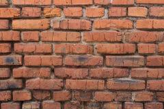 Vermelho velho parede de tijolo pintada Fotos de Stock Royalty Free