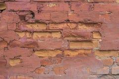 Vermelho velho parede de tijolo pintada Imagens de Stock Royalty Free