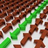 Vermelhos verdes dos agains das setas, isolados em um plano branco espelhado ilustração 3D imagens de stock