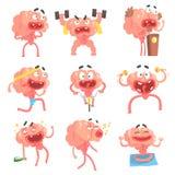 Vermenselijkte Grappige Leven en de Emotiesinzameling van Brain Cartoon Character With Arms en de Scènes van het Benen van Illust Stock Afbeeldingen