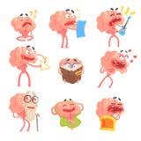 Vermenselijkte Grappige Leven en de Emotiesreeks van Brain Cartoon Character With Arms en de Scènes van het Benen Illustraties Royalty-vrije Stock Foto's