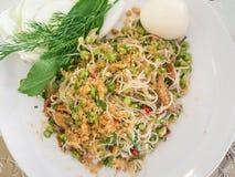 Vermicelli ρυζιού πικάντικη σαλάτα, ταϊλανδικό ύφος Στοκ Φωτογραφία