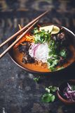 Vermicelli, ταϊλανδικό κίτρινο κάρρυ Sous κεφτών βόειου κρέατος με το καρότο, κρεμμύδι και κορίανδρο στοκ εικόνες