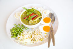 Vermicelli amd  Chicken green curry  Thai food style Royalty Free Stock Photo