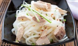 Vermicelli del riso con lo sgombro dei bei pezzi Fotografia Stock