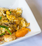 Vermicelli fried with vegetable, egg and shrimp closeup Stock Photography