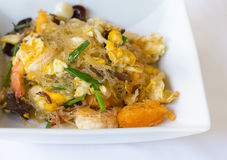 Vermicelli fried with vegetable, egg and shrimp on dish Stock Image