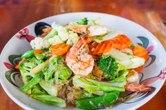 Vermicelli fried with vegetable and seafood,Thai food. Stock Photography