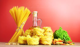 Vermicelli, lettuce and oil Royalty Free Stock Photos