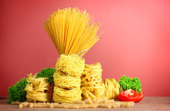 Vermicelli, lettuce and oil Stock Photography