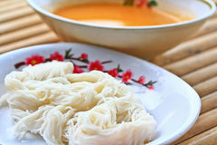 Vermicelli mixed with spicy fish soup Stock Photos