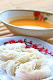 Vermicelli mixed with spicy fish soup Stock Photo