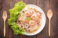 Vermicelli salad on woooden table Royalty Free Stock Photography