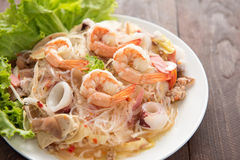 Vermicelli salad on woooden table Royalty Free Stock Images