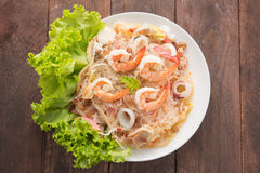 Vermicelli salad on woooden table Royalty Free Stock Image