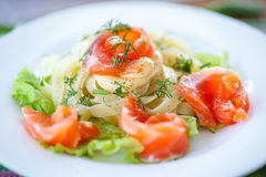 Vermicelli with salted salmon and sauce Stock Photos