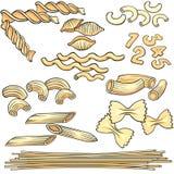 Vermicelli, spaghetti, geplaatste deegwarenpictogrammen Stock Foto's