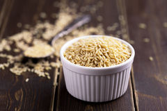 Vermicelli with spoon on a wooden background.  Stock Image