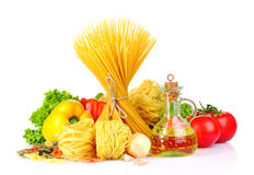 Vermicelli, vegetables and oil Stock Photography