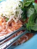 Vermicellis de riz avec de la sauce à cari Image stock