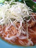Vermicellis de riz avec de la sauce à cari Photos stock