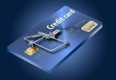 Vermijd creditcardvallen, als dit die als een creditcard omgezet in een muizeval kijkt stock illustratie