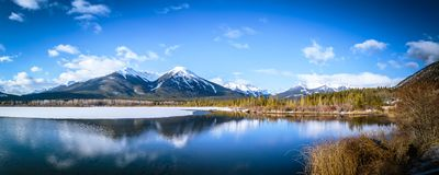 Vermilion lake at Banff National Park, Alberta, Canada. This photo was taken during the transition between winter and snow season Stock Photos