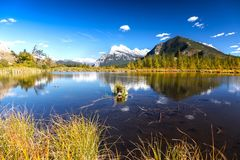 Vermilion Lakes Banff National Park Canadian Rocky Mountains Royalty Free Stock Photo
