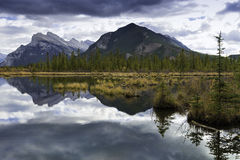 Vermilion Lakes and Mount Rundle Royalty Free Stock Images